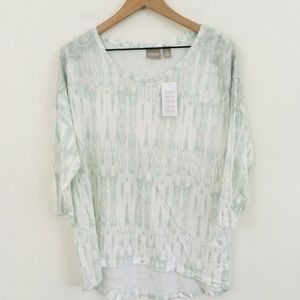 NWT! Chico's Watercolor 3/4 Sleeve Lace Top Large